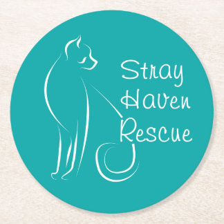 Stray Haven Coasters-Teal Round Paper Coaster