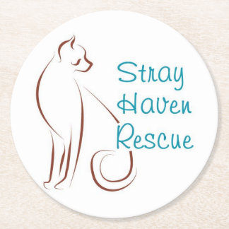 Stray Haven Coasters-White Round Paper Coaster