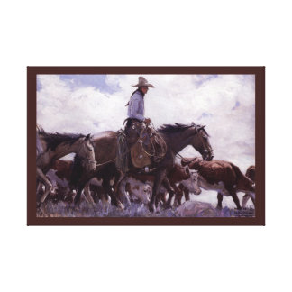 Stray Man Heads Home by Koerner, Vintage Cowboy Canvas Print