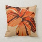Streaky Hawaiian Hibiscus FauxLinen Square Pillows