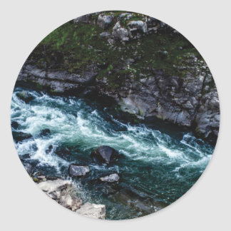stream of emerald waters classic round sticker