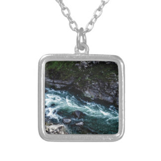 stream of emerald waters silver plated necklace