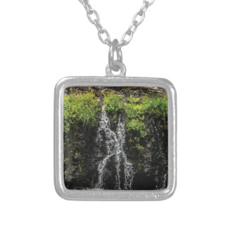 stream trickle falls silver plated necklace