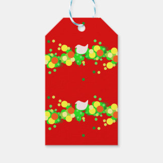 Streame of colored lights with doves gift tags