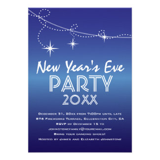 Streamers and Stars Blue New Year s Eve Party Personalized Invites