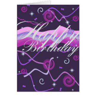 Streamer's & Confetti Birthday Card