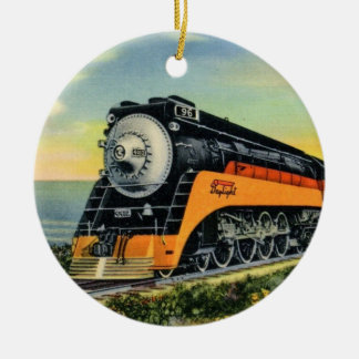 Streamline Steam Locomotive Ceramic Ornament