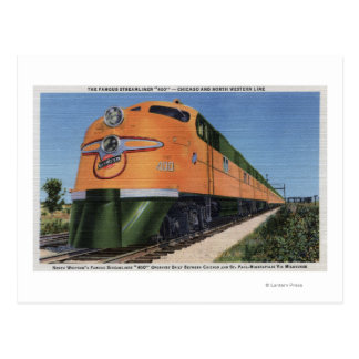 "Streamliner ""400"" to Milwaukee Postcard"