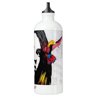 Street Art Graffiti Girl and Hummingbirds