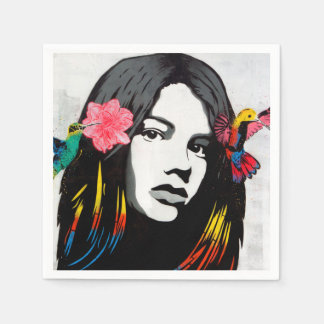 Street Art Graffiti Girl and Hummingbirds Paper Napkin