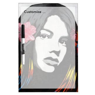 Street Art Graffiti Girl with Birds Dry Erase Whiteboard