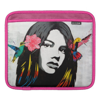 Street Art Graffiti Girl with Birds iPad Sleeves