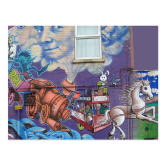 Street art on wall postcard