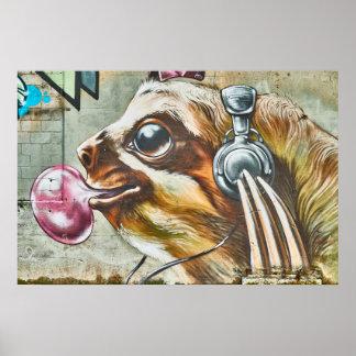 Street Art Sloth Bubblegum Headphones Graffiti Poster