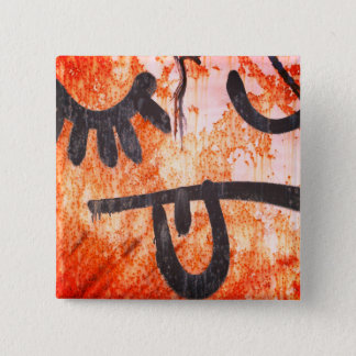 Street Art Yuck Face 2 Inch Square Button