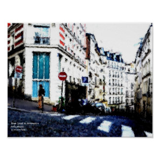 Street Corner in Montmartre, Paris, France Poster