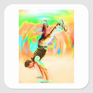 Street Dancing, Green/Yellows/Oranges, No-Sil't Square Sticker