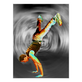 Street Dancing, Grey/Black Background Poster