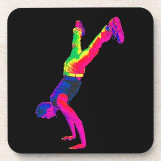 Street Dancing - Multi-Colour, Black Back Beverage Coaster