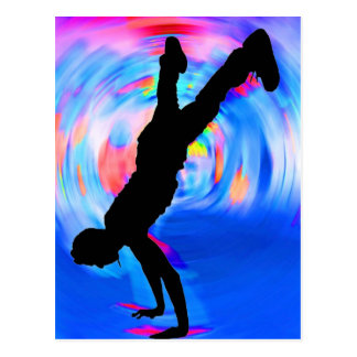 Street Dancing, Silhouette, Blues/Reds/Pink Shades Postcard