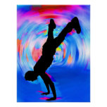 Street Dancing, Silhouette, Blues/Reds/Pink Shades Poster