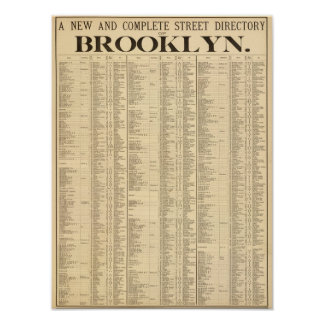 Street directory of Brooklyn 1st page Poster