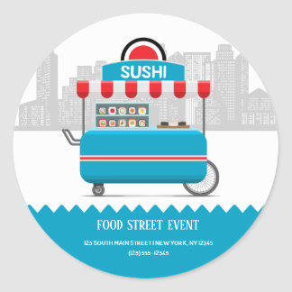 Street food sushi classic round sticker