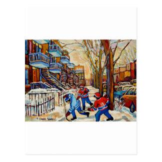 Street Hockey with 3 boys Postcard