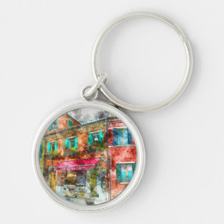 Street in Burano Italy near Venice Silver-Colored Round Keychain