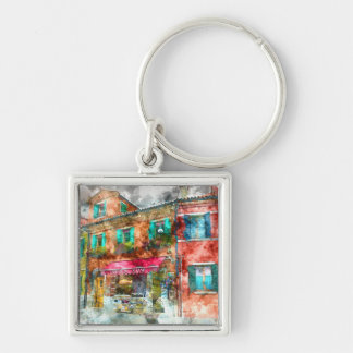 Street in Burano Italy near Venice Silver-Colored Square Keychain