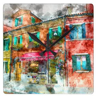 Street in Burano Italy near Venice Wall Clock