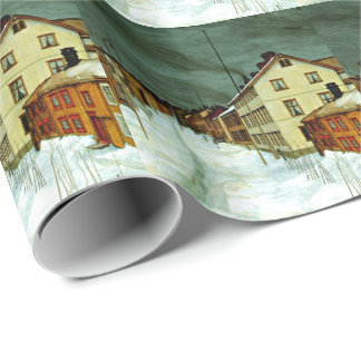 Street in Roros (Norway) fine art painting Wrapping Paper