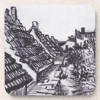 Street in Saintes-Maries by Vincent van Gogh Beverage Coasters
