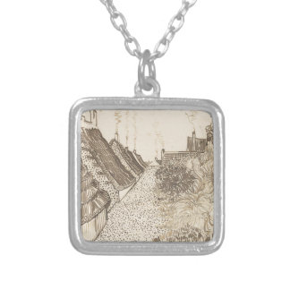 Street in Saintes-Maries-de-la-Mer Silver Plated Necklace