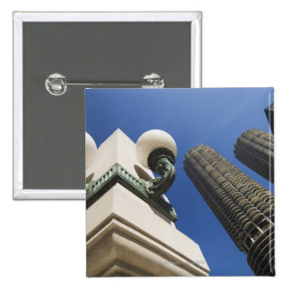Street lamp detail at Marina City Towers Chicago 2 Inch Square Button