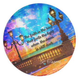 Street lamps at dawn party plate