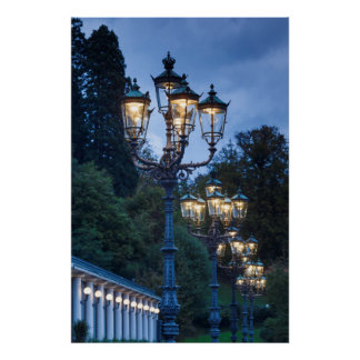 Street lamps at night, Germany Poster