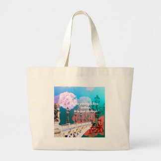 Street lamps flowers and message large tote bag