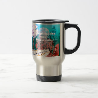 Street lamps flowers and message travel mug