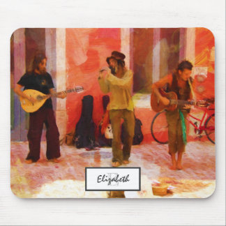 Street Musicians Playing Guitar Mandolin and Flute Mouse Pad