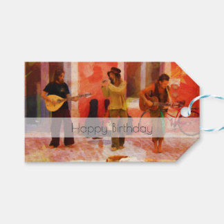 Street Musicians Playing Together Happy Birthday Gift Tags