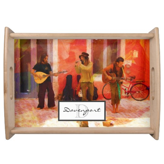 Street Musicians Playing Together Monogram Serving Tray