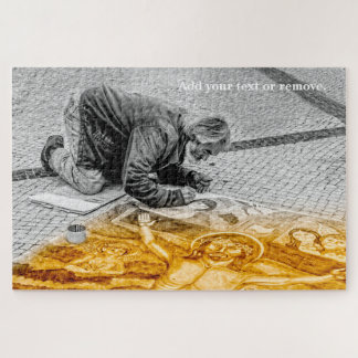 Street painter paints Jesus Christ on the floor. Jigsaw Puzzle