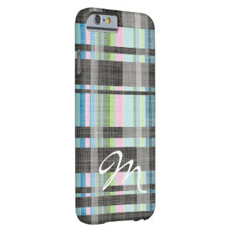 Street Plaid Pattern with monogram Barely There iPhone 6 Case