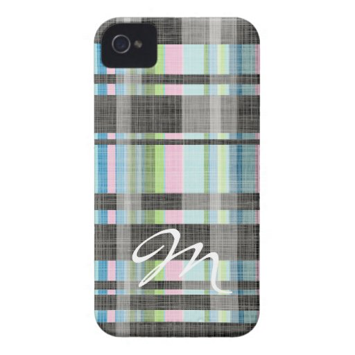 Street Plaid Pattern with monogram iPhone 4 Cases