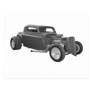 street rod gray postcard