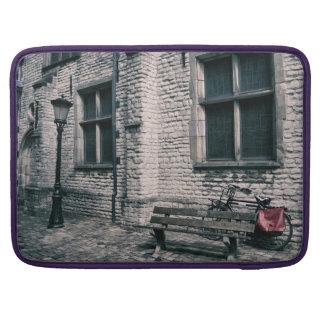 street scene with a bike sleeve for MacBooks