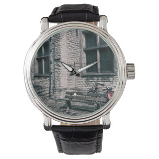 street scene with a bike wrist watch
