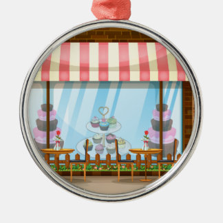 Street scene with bakery shop metal ornament