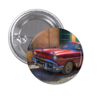 Street scene with old car in Havana 1 Inch Round Button